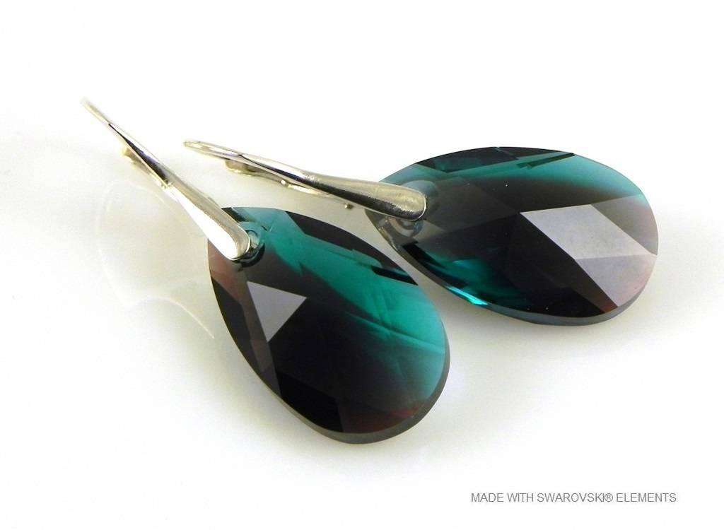 """Zilveren Oorringen met Swarovski Elements Pear-Shaped """"Zircon Burgund Blue"""""""