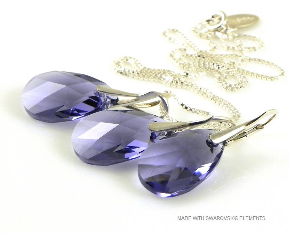 "Bijou Gio Design™ Set Argent Boucles d'oreilles et Collier avec Swarovski Elements Pear-Shaped ""Tanzanite"""