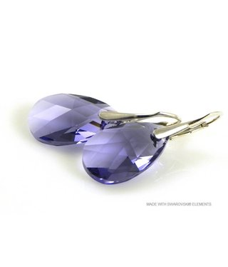 "Bijou Gio Design™ Zilveren Oorringen met Swarovski Elements Pear-Shaped ""Tanzanite"""