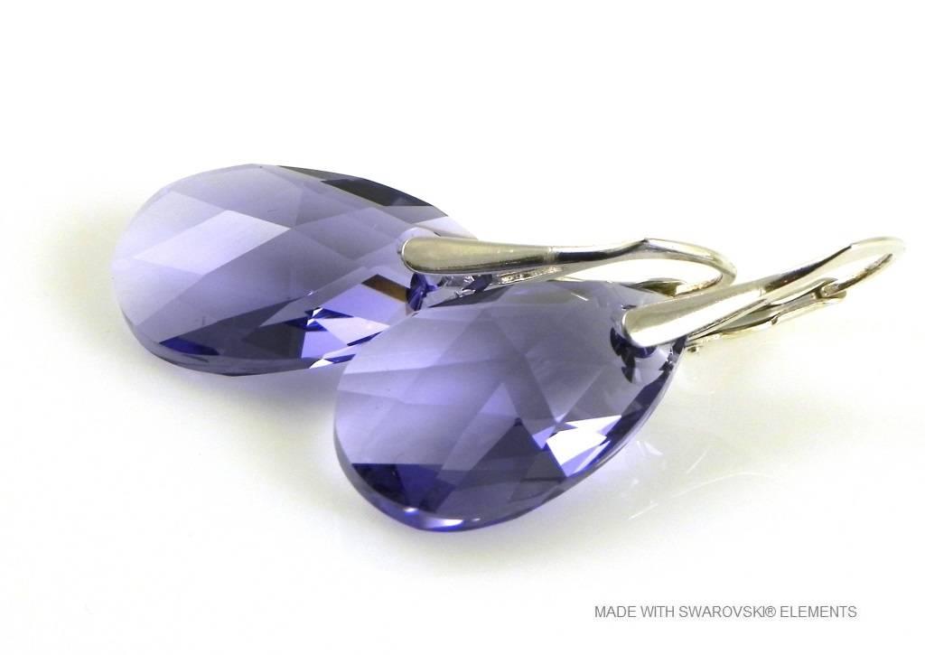 "Zilveren Oorringen met Swarovski Elements Pear-Shaped ""Tanzanite"""
