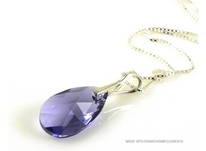 "Silver Necklace with Swarovski Elements Pear-Shaped ""Tanzanite"""