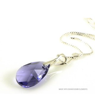 "Bijou Gio Design™ Silver Necklace with Swarovski Elements Pear-Shaped ""Tanzanite"""