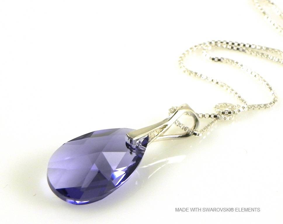 "Zilveren Ketting met Swarovski Elements Pear-Shaped ""Tanzanite"""