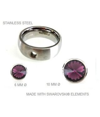 Ring Stainless Steel with removable Swarovski stones
