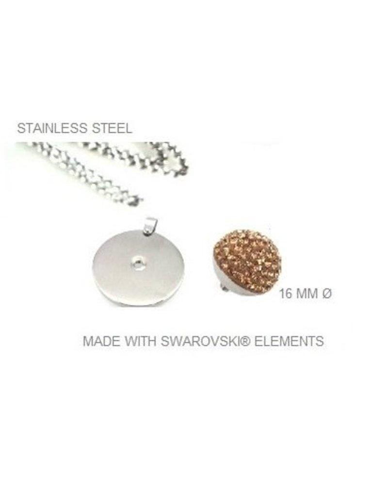 Roestvrij stalen ketting en hanger met verwisselbare Swarovski stenen
