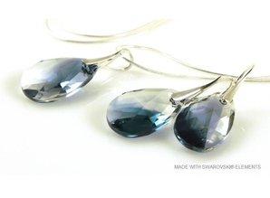 """Bijou Gio Design™ Set Silber Ohrringe und Halskette mit Swarovski Elements Pear-Shaped """"Crystal-Montana Blend"""""""