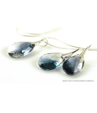 "Bijou Gio Design™ Set Silver Earrings and Necklace with Swarovski Elements Pear-Shaped ""Crystal-Montana Blend"""