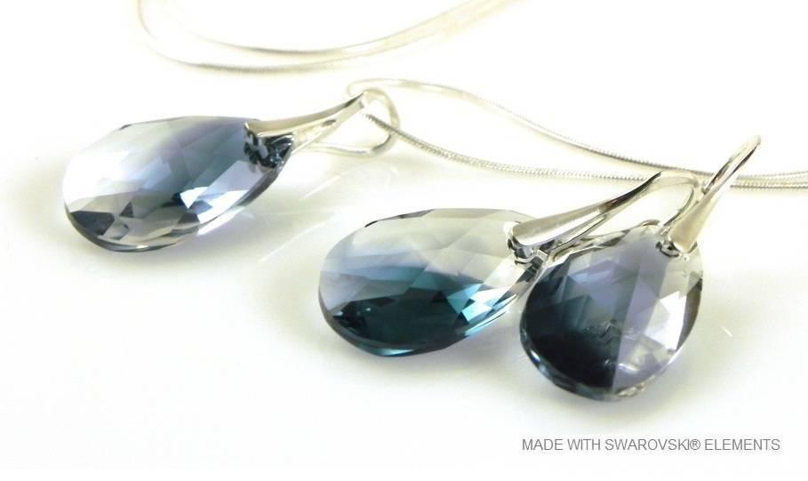 Bijou Gio Design™ Set Argent Boucles d'oreilles et Collier avec Swarovski Elements Pear-Shaped «Crystal-Montana Blend»