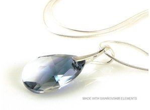 "Silver Necklace with Swarovski Elements Pear-Shaped ""Crystal-Montana Blend"""