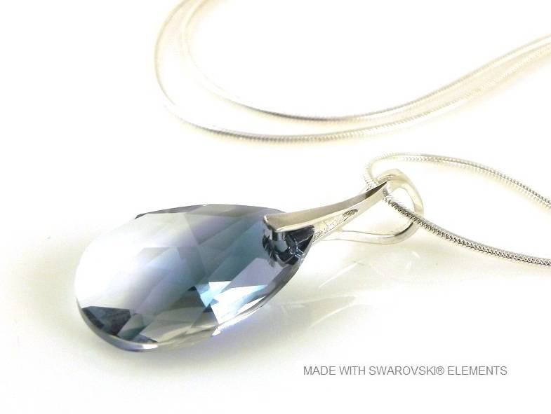"Zilveren Ketting met Swarovski Elements Pear-Shaped ""Crystal-Montana Blend"""