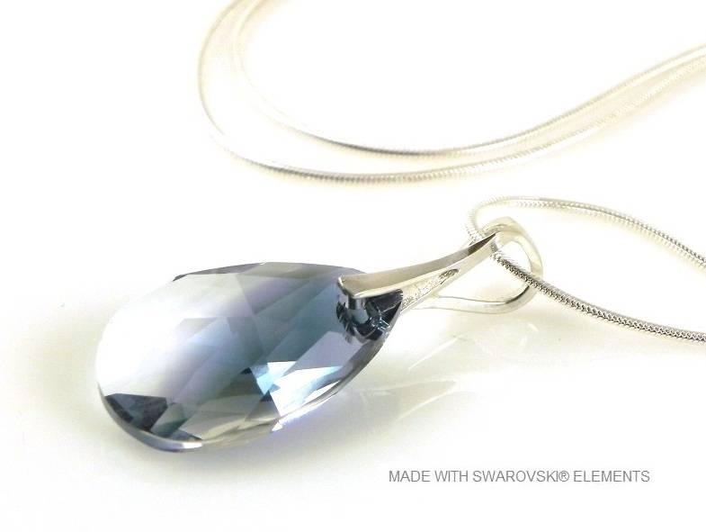 "Zilveren Ketting met Swarovski Elements Pear-Shaped ""Crystal-Montana Blend"""