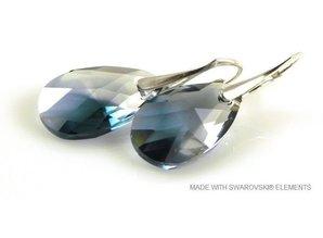 """Zilveren Oorbellen met Swarovski Elements Pear-Shaped """"Crystal-Montana Blend"""""""