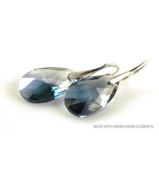 "Bijou Gio Design™ Silver Earrings with Swarovski Elements Pear-Shaped ""Crystal-Montana Blend"""