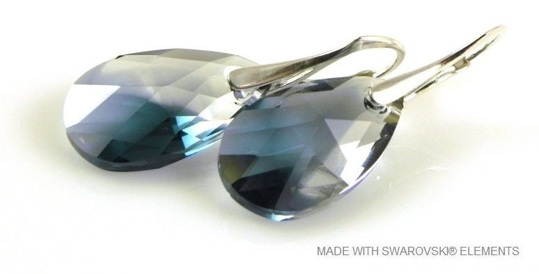 "Zilveren Oorringen met Swarovski Elements Pear-Shaped ""Crystal-Montana Blend"""