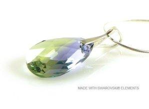 "Silber Halskette mit Swarovski Elements Pear-Shaped ""Pro. lav - chrys. blend"""