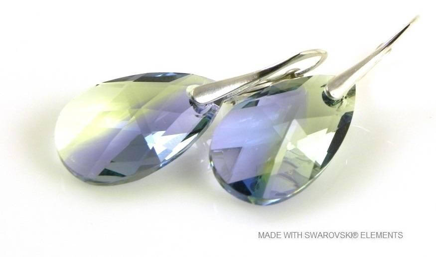 """Zilveren Oorringen met Swarovski Elements Pear-Shaped """"Pro. lav - chrys. blend"""""""
