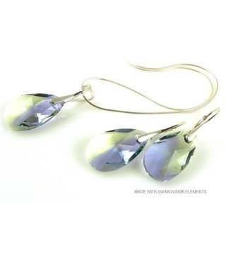 "Bijou Gio Design™ Set Silver Earrings and Necklace with Swarovski Elements Pear-Shaped ""Pro. lav - chrys. blend"""