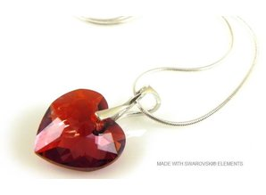 """Silber Halskette mit Swarovski Elements Heart """"Crystal Red Magma"""""""