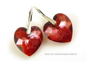 "Silber Ohrringe mit Swarovski Elements Heart ""Crystal Red Magma"""