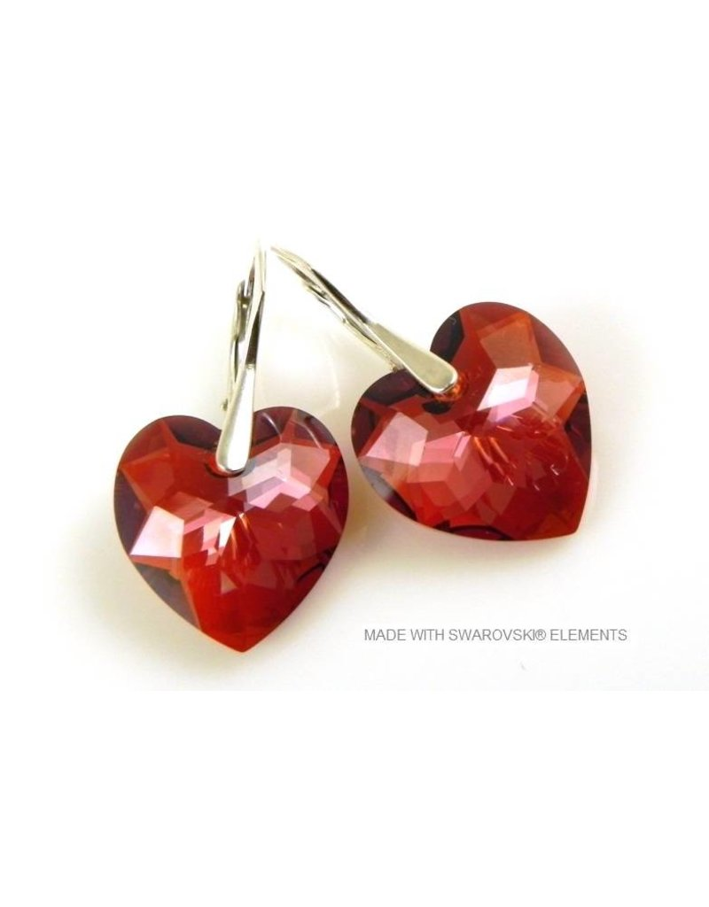 Bijou Gio Design Silver Earrings With Swarovski Elements Heart Crystal Red Magma