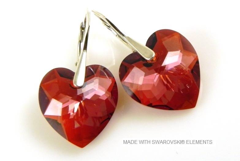 "Zilveren Oorringen met Swarovski Elements Hart ""Crystal Red Magma"""