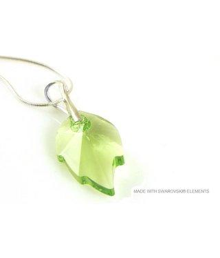 "Bijou Gio Design™ Silver Necklace with Swarovski Elements Leaf ""Peridot"""