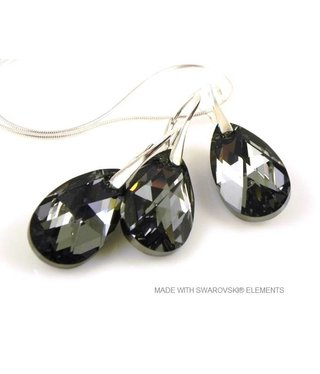 "Bijou Gio Design™ Set 925 met Swarovski Elements Pear-Shaped ""Crystal Silver Night"""