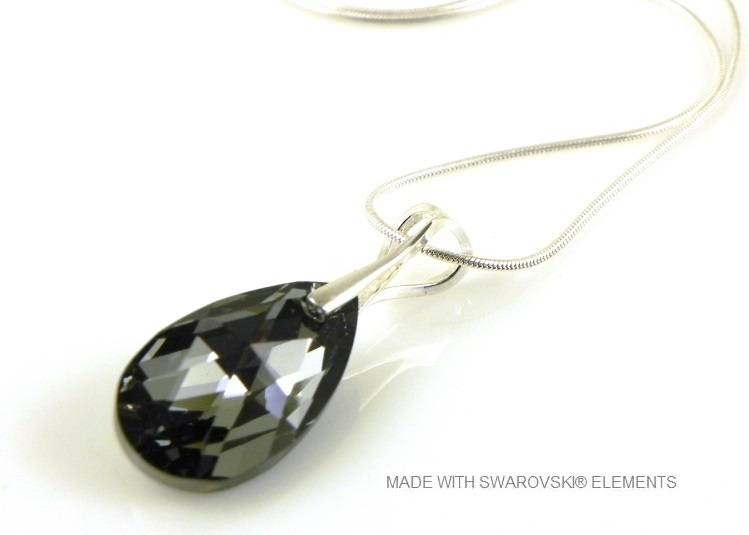 "Zilveren Ketting met Swarovski Elements Pear-Shaped ""Crystal Silver Night"""