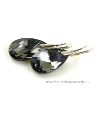 "Bijou Gio Design™ Zilveren Oorringen met Swarovski Elements Pear-Shaped ""Crystal Silver Night"""