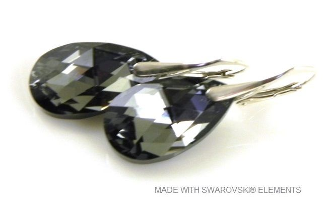 "Zilveren Oorringen met Swarovski Elements Pear-Shaped ""Crystal Silver Night"""