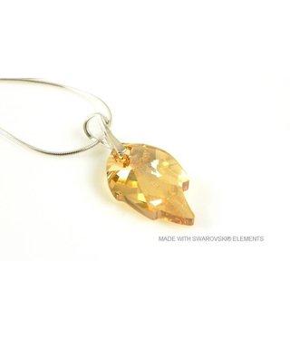 "Bijou Gio Design™ Silver Necklace with Swarovski Elements Leaf ""Crystal Golden Shadow"""