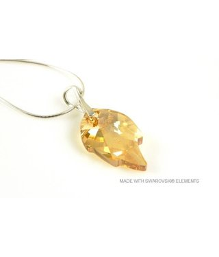 "Bijou Gio Design™ Zilveren Ketting met Swarovski Elements Leaf ""Crystal Golden Shadow"""