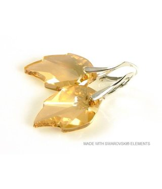 "Bijou Gio Design™ Zilveren Oorringen met Swarovski Elements Leaf ""Crystal Golden Shadow"""
