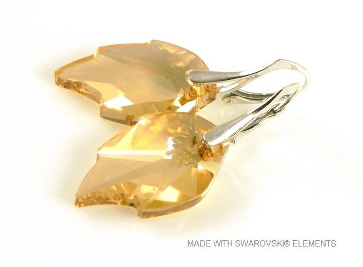 "Zilveren Oorringen met Swarovski Elements Leaf ""Crystal Golden Shadow"""