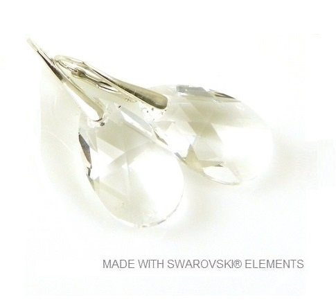 "Zilveren Oorringen met Swarovski Elements Pear-Shaped ""Crystal"""