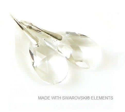 "Zilveren Oorringen met Swarovski Elements Pear-Shaped ""Crystal"""