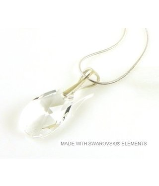 "Bijou Gio Design™ Silver Necklace with Swarovski Elements Pear-Shaped ""Crystal"""