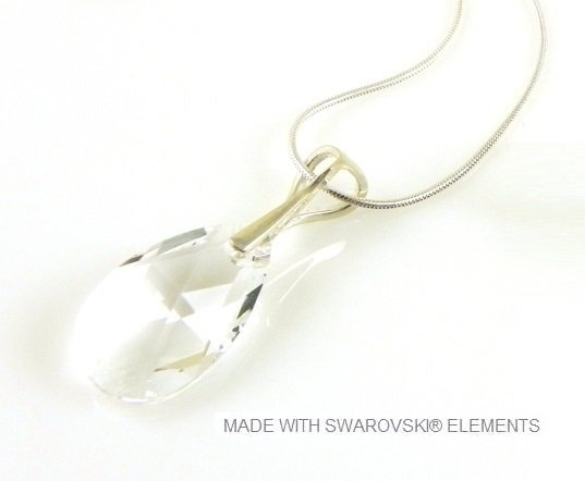 "Zilveren Ketting met Swarovski Elements Pear-Shaped ""Crystal"""