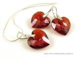 """Bijou Gio Design™ Set Plata Pendientes y Collar con Swarovski Elements Heart """"Crystal Red Magma"""""""