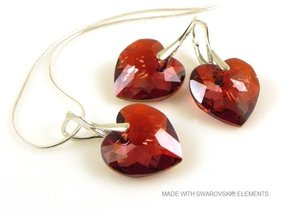"""Bijou Gio Design™ Set Silver Earrings and Necklace with Swarovski Elements Heart """"Crystal Red Magma"""""""