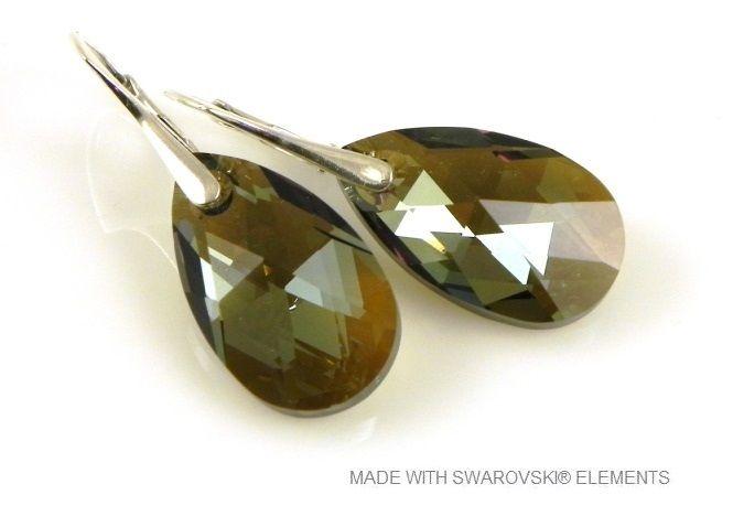 """Zilveren Oorringen met Swarovski Elements Pear-Shaped """"Bronze Shade"""""""