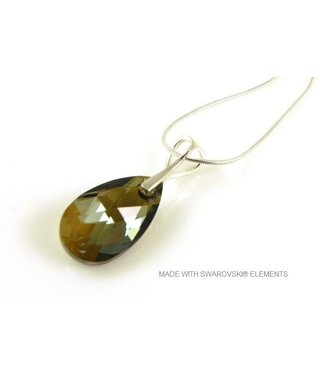 "Bijou Gio Design™ Zilveren Ketting met Swarovski Elements Pear-Shaped ""Bronze Shade"""