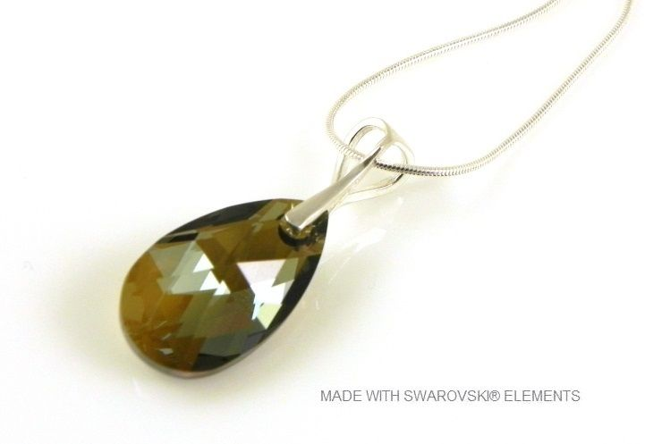 "Zilveren Ketting met Swarovski Elements Pear-Shaped ""Bronze Shade"""