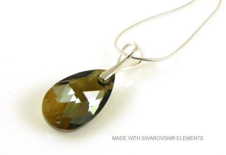 "Zilveren Ketting met Swarovski Elements Pear-Shaped ""Bronze Shade"""