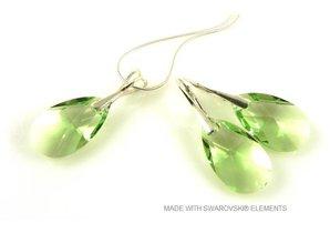 """Bijou Gio Design™ Set Silber Ohrringe und Halskette mit Swarovski Elements Pear-shaped """"Peridot"""""""