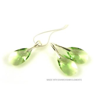 "Bijou Gio Design™ Set Silver Earrings and Necklace with Swarovski Elements Pear-shaped ""Peridot"""