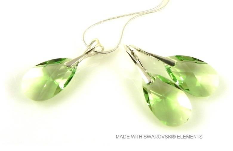 "Bijou Gio Design™ Set Argent Boucles d'oreilles et Collier avec Swarovski Elements Pear-shaped ""Peridot"""