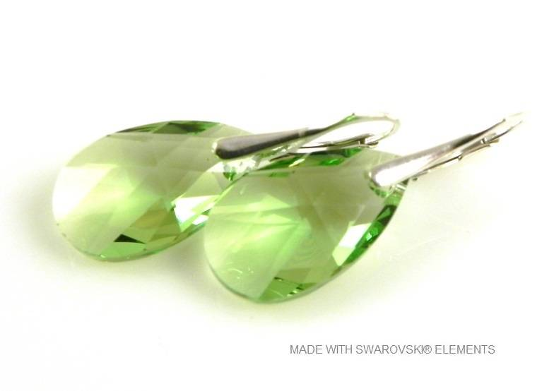 "Zilveren Oorringen met Swarovski Elements Pear-shaped ""Peridot"""