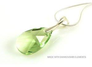 "Silber Halskette mit Swarovski Elements Pear-Shaped ""Peridot"""
