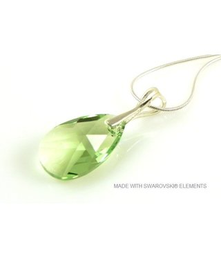 "Bijou Gio Design™ Silver Necklace with Swarovski Elements Pear-Shaped ""Peridot"""